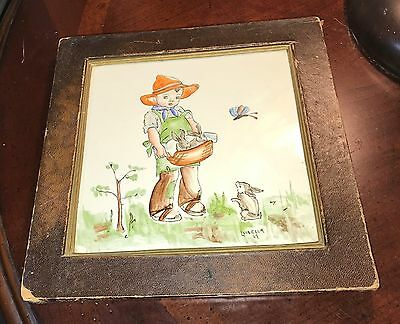 1947 Hand Painted Porcelain Tile signed Luisella Boy with Basket of Bunnies