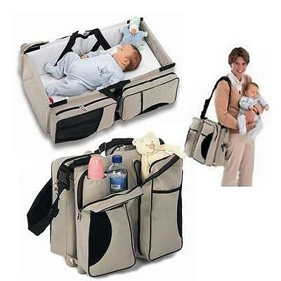 Practical 3 in 1 Baby Diaper Bag Travel Bassinet Portable Baby Change Station Q
