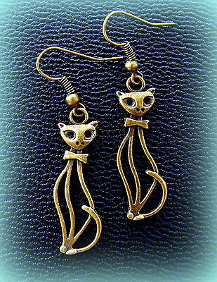 Kitten Kitty Cat Earrings JEWELRY- Vintage ART DECO Unique Feline look