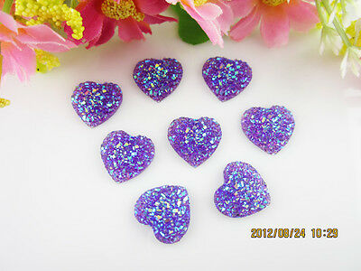 DIY 100PCS Purple Resin Heart flatback Scrapbooking for phone/wedding/craft  C32