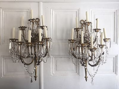 Antique French Empire Neoclassical Pair Bronze 8 Light Wall Sconces Chandelier