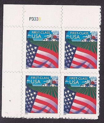 US 3449 MNH 2000 Die Cut (34¢) Flag Over Farm Perf 11¼ Plate Block 4 P3333 UL