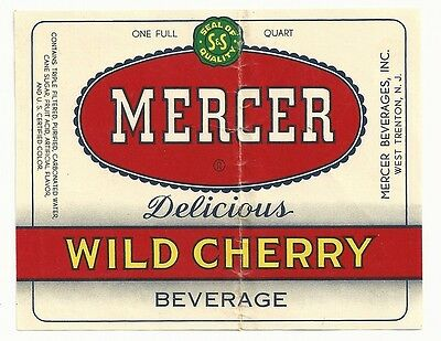 1950's Mercer Wild Cherry Beverage Label - West Trenton, NJ