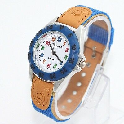 Boy Watches Fashion Fabric Strap Kids Boy Girls Learn Time Quartz Wristwatch U32