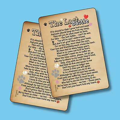 """The Last Battle"" Pet Bereavement - Pet Memorial Poem - 2 Verse Cards - sku# 811"