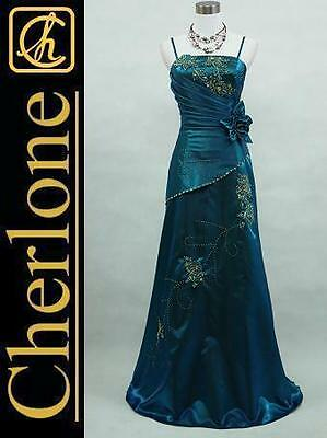 Cherlone Satin Blue Long Prom Ball Sparkle Wedding/Evening Bridesmaid Gown Dress