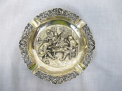 Vintage Dutch Silverplate Repousse Ashtray - Unmarked - (579)