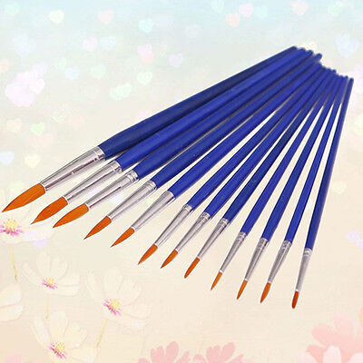12x Round Pointed Tip Nylon Brush Artist Paint Water Color Painting Pens Novelty