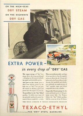 Texaco-Ethyl Dry Extra Power in Dry Gas ad 1931