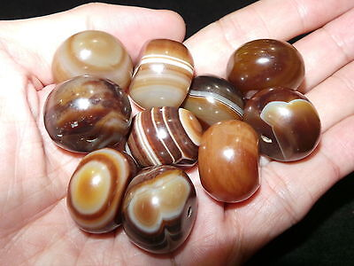 10 Pcs Old Nepal Tibet Drum Shaped Banded Agate Beads
