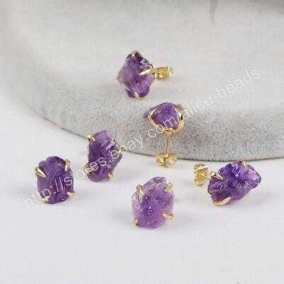 5Pcs Natural Amethyst Druzy Crystal Faceted Point Necklace Gold Plated BWX018-N