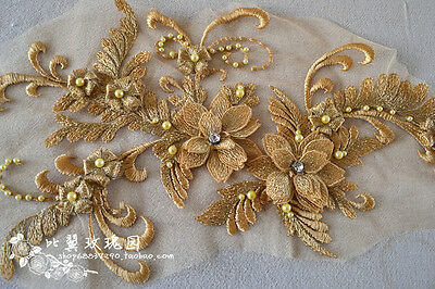 A1 3D beaded sequence lace applique motif sewing bridal wedding 40cm*20cm