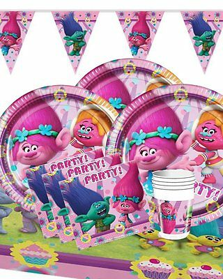 Trolls Deluxe Birthday Party Kit For 16 Children - Plates Cups Napkins Banners