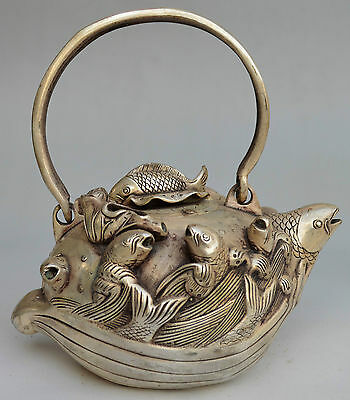 Collectible Decorated Silver Plate Copper Carved Fish Wave Tea Pot