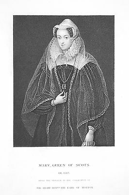 OLD ANTIQUE PRINT PORTRAIT MARY QUEEN OF SCOTS STUART c1870's ENGRAVING