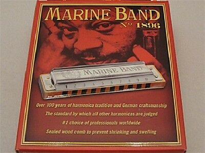 New Hohner Marine Band 1896 Series Harmonica In Key Of F  + Free Shipping