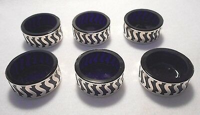 Vintage Sterling Cobalet Blue Salt Cellars Set of 6