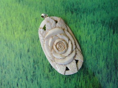 Pendant Necklace Flower from Buffalo Bone Carved with Silver Bail 925_w941