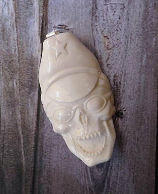 Pendant Necklace Skull with Glasses from Buffalo Bone Carved Silver 925_w299