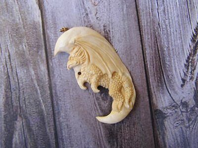 Pendant Necklace Europe Dragon From Buffalo Bone Carved with Silver 925_x300