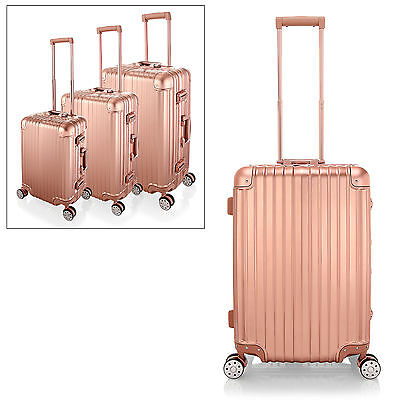Alu Frame + PC Shell Travel Luggage,4 Wheel Cabin Trolley Suitcase,Rose Gold