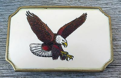 American Bald Eagle In Flight Doyle Yancey Scrimshaw Art Vintage BTS Belt Buckle