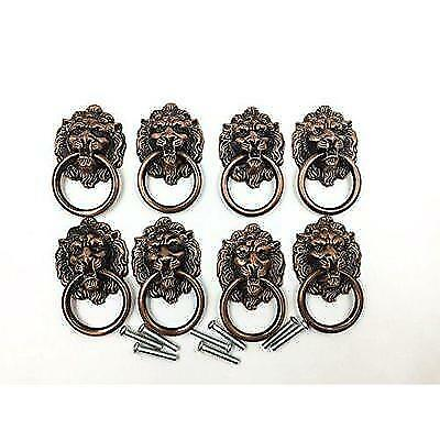 Dresser Drawer Cabinet Door Ring Lion Head Pull Handle Knob 8pcs (A) New