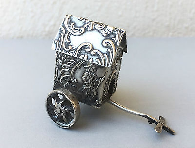 Antique superb carriage miniature solid silver sterling