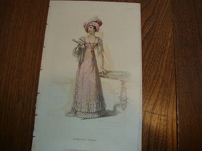 #8 Antique Hand Coloured Engraving/Print Costume/Fashion Evening Dress 1824