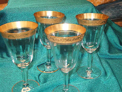 "Vtg.Tiffin GoldEncrusted Crystal1930's Wine/Water Goblets 4pc 6 3/4""TallPaneled"