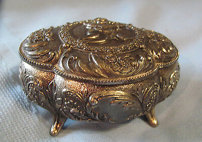 Vtg Japanese Silver Medal Embossed Winged Cupid Footed Jewelry Trinket Box