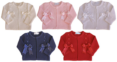 Baby girl BOW cardigan jacket Couche Tot Spanish christening bridesmaid occasion
