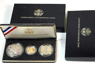 1989 S Proof 3 Piece Congressional Coin Set $5 Gold & Silver $1 & Half