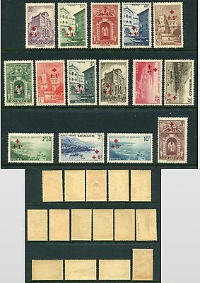 MONACO 1940 RED CROSS MNH Set to 20F 15 Stamps Scott $300