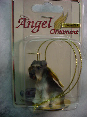 SCHNAUZER gray DOG ANGEL Ornament HAND PAINTED FIGURINE NEW puppy UNCROPPED NEW