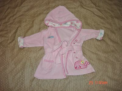 Carters Just One Year Baby Girls Size 0/9M Pink Terry Cloth Hooded Bathrobe