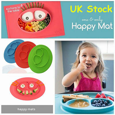 Kids Happy Mat Onepiece Silicone Mat Baby Suction Table Food Tray Placemat plate