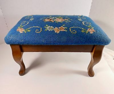 Victorian Antique Vintage Style Floral Needlepoint Footstool