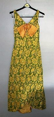 Vintage 1950s Brocade Cocktail Dress Green Gold Scalloped Sleeveless Floral