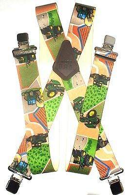 "2""  Mens 48"" Beige Tractor Suspenders. Made in USA Elastic and SF Clip on"