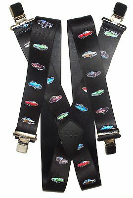 "2"" Mens 48"" Cars  Suspenders. Made in USA Elastic and SF Clip on"