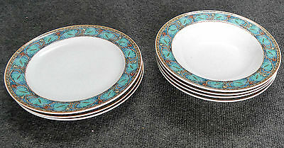 7 Pc Studio Nova Village Trail, Y2219, 3 Salad Plates & 4 Soup Bowls,  Mint