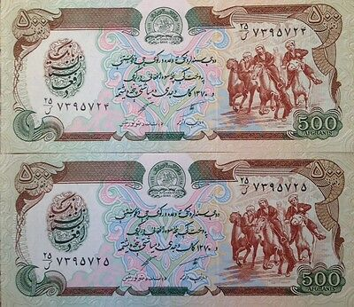 Afghanistan 1991 500 Afghanis Taliban P-60 Lot Of (2) Buy From A Usa Seller !!!!