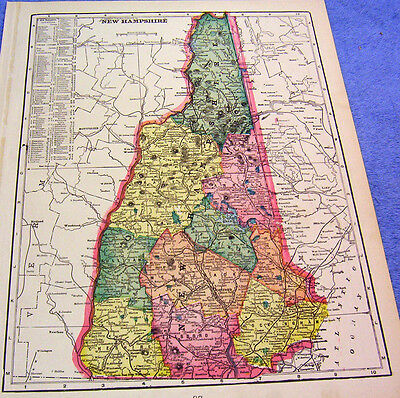 Antique Map Of New Hampshire W/ Railroads, Depots, Oil Mills, George's Mills