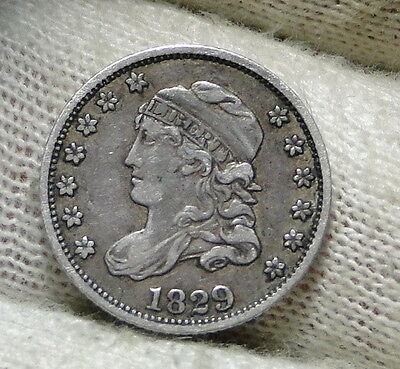 1829 Capped Bust Half Dime H10C 5 Cents - Nice Old Coin, Free Shipping  (5933)