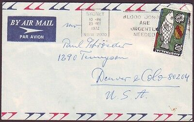 1972 USE OF 30c FISH ON COMMERCIAL COVER TO USA - CONTEMPORARY POSTMARK (RU1219)