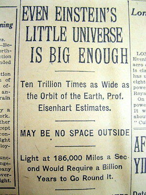 1921 NY Times newspaper ALBERT EINSTEIN trys2 explain his THEORY OF THE UNIVERSE