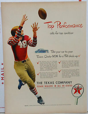 1948 magazine ad for Texaco - Football player illustration, Texaco Fall Check-up
