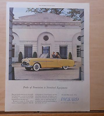 1951 magazine ad for Packard, yellow convertible at mansion, pride of possession