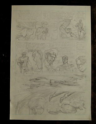 "BIG BANG COMICS ""SHIELD"" superhero-like unused pencil page art by Bill Fugate"